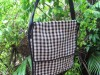 Mans Shoulder Bag Black Tartan Jute