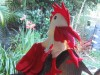 Rooster hand puppet white and red
